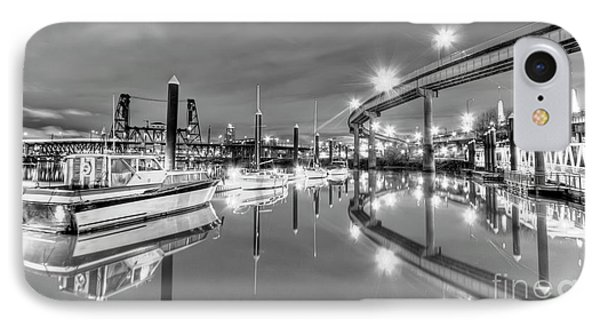 Portland Waterfront Overpass And Boats IPhone Case