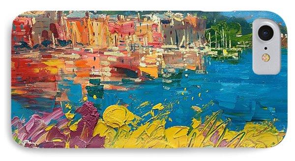 Portofino Harbor With Flowers IPhone Case