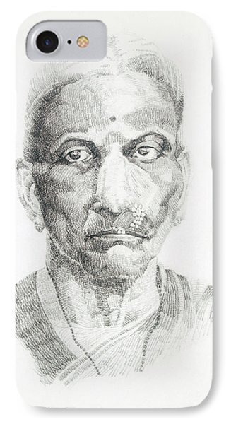 Portrait Drawing Of A Great Grand Parent A Brahmin Lady With A Nosering IPhone Case by Makarand Joshi