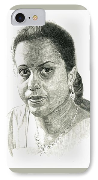 Portrait Drawing Of Indian Girl IPhone Case by Makarand Joshi