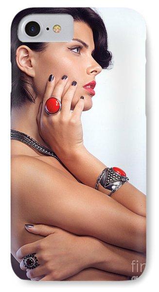 Portrait Of A Beautiful Woman Wearing Jewellery Phone Case by Oleksiy Maksymenko