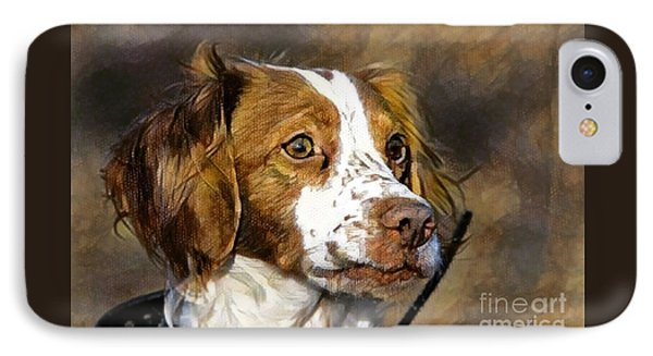 IPhone Case featuring the photograph Portrait Of A Brittany - D009983-a by Daniel Dempster