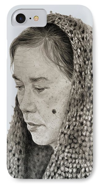 Portrait Of A Filipina Woman With A Mole On Her Cheek And Wearing A Scarf IPhone Case by Jim Fitzpatrick