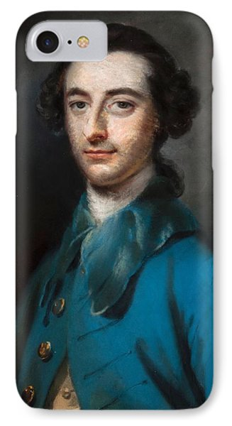Portrait Of A Gentleman In Blue Coat IPhone Case by MotionAge Designs