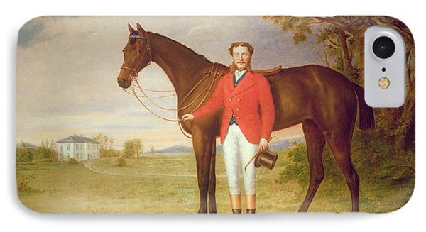 Portrait Of A Gentleman With His Horse IPhone Case by English School