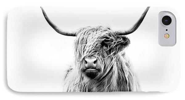Cow iPhone 7 Case - Portrait Of A Highland Cow by Dorit Fuhg