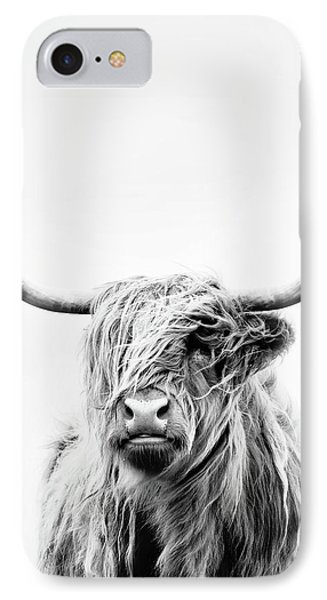 Cow iPhone 7 Case - Portrait Of A Highland Cow - Vertical Orientation by Dorit Fuhg