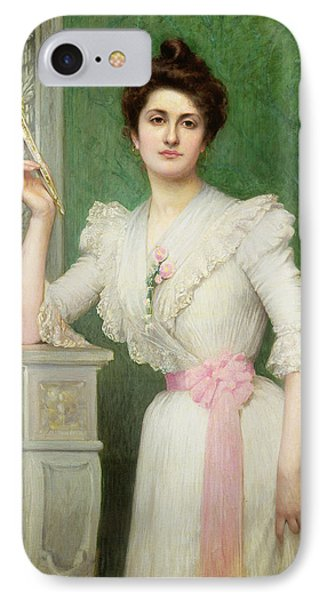 Portrait Of A Lady Holding A Fan IPhone Case by Jules-Charles Aviat