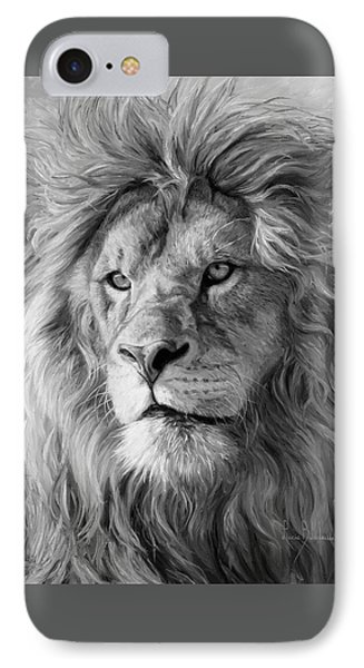 Portrait Of A Lion - Black And White IPhone Case by Lucie Bilodeau
