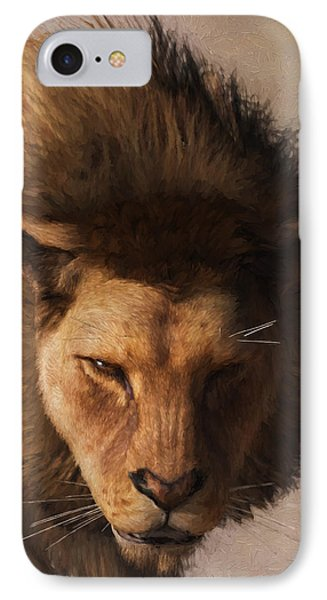Portrait Of A Lion IPhone Case by Daniel Eskridge