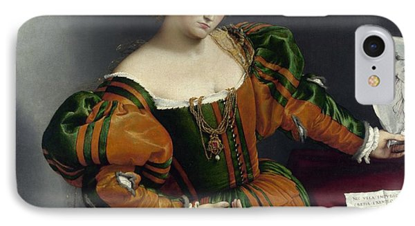Portrait Of A Woman Inspired By Lucretia Phone Case by Lorenzo Lotto
