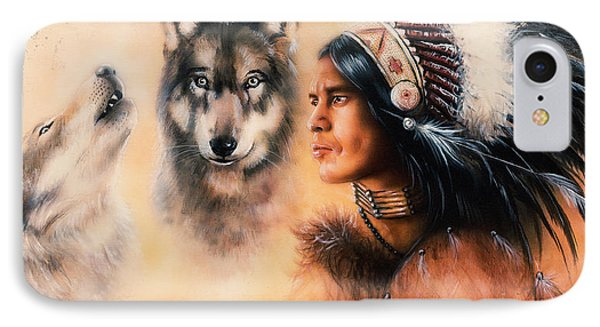 Portrait Of American Indian In National Dress  On Color Backgrou IPhone Case