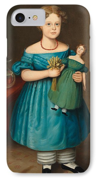 Portrait Of Amy Philpot In A Blue Dress With Doll And Goldfish IPhone Case by Joseph Whiting Stock