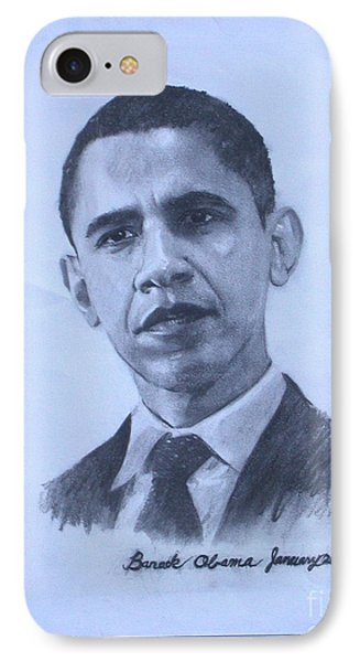 portrait of Barack Obama IPhone Case by Sarah Mariam Yi
