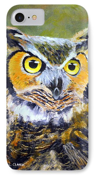 Portrait Of Great Horned Owl Phone Case by Dennis Clark