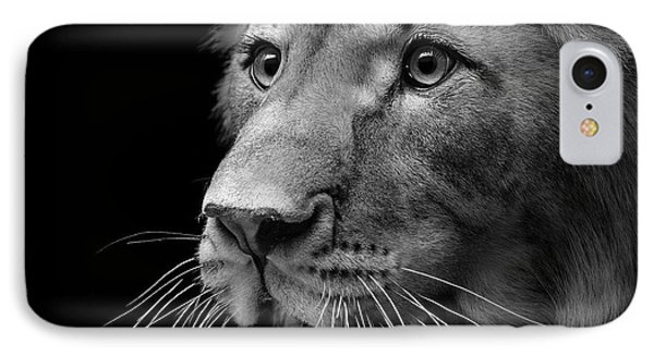 Lion iPhone 7 Case - Portrait Of Lion In Black And White II by Lukas Holas