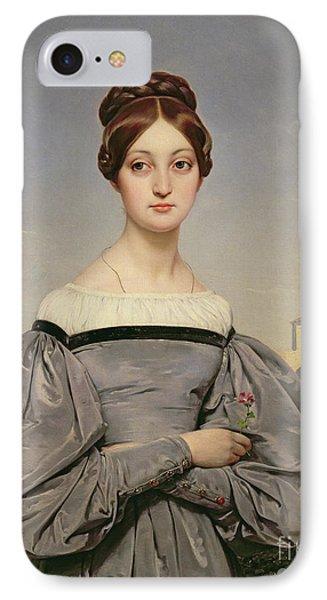 Portrait Of Louise Vernet IPhone Case by Emile Jean Horace Vernet