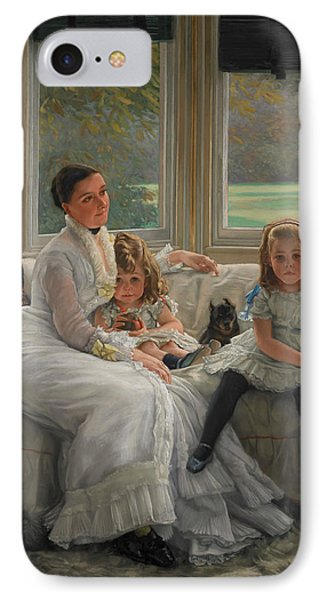 Portrait Of Mrs Catherine Smith Gill And Two Of Her Children IPhone Case by James Tissot