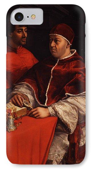 Portrait Of Pope Leo X With Cardinals Giulio De' Medici And Luigi De' Rossi  IPhone Case by Raphael