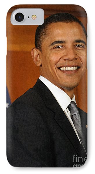 Portrait Of President Barack Obama IPhone Case by Celestial Images