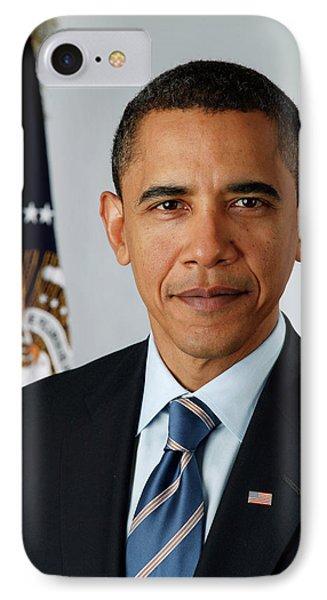 portrait of President Barack Obama IPhone Case by MotionAge Designs