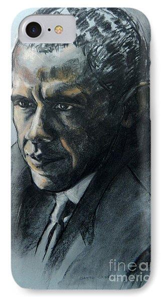 Charcoal Portrait Of President Obama Phone Case by Greta Corens