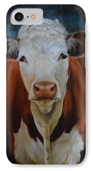 IPhone Case featuring the painting Portrait Of Sally The Cow by Cheri Wollenberg