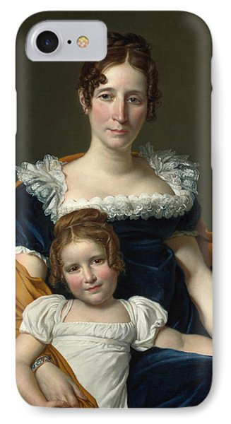 Portrait Of The Countess Vilain Xiiii And Her Daughter Louise IPhone Case by Jacques-Louis David