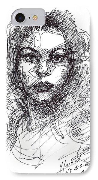 Portrait Sketch  IPhone Case by Ylli Haruni