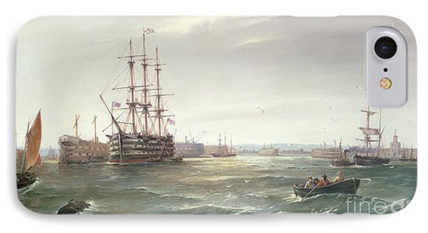 Portsmouth Harbour With Hms Victory IPhone Case by Robert Ernest Roe