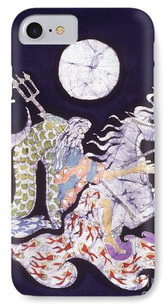 Poseidon Rides The Sea On A Moonlight Night Phone Case by Carol  Law Conklin