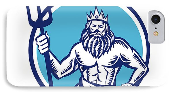 Poseidon Trident Circle Woodcut IPhone Case