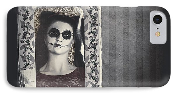 Possessed Sugar Skull Doll Inside Vintage Toy Box IPhone Case by Jorgo Photography - Wall Art Gallery
