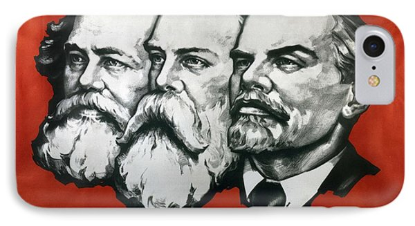 Poster Depicting Karl Marx Friedrich Engels And Lenin IPhone Case by Unknown