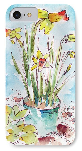 IPhone Case featuring the painting Potted Daffodils by Pat Katz