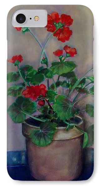 IPhone Case featuring the painting Potted Geranium by Irena Mohr