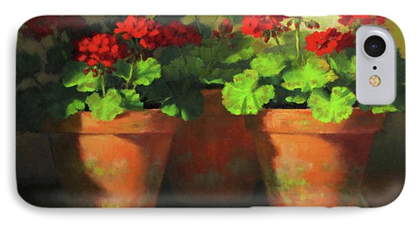 Potted Geraniums IPhone Case by Linda Jacobus