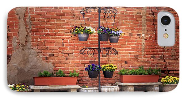 IPhone Case featuring the photograph Potted Plants And A Brick Wall by James Eddy