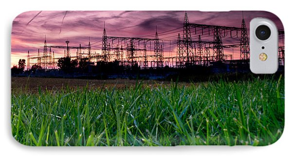 Power Lines Sunset Phone Case by Cale Best