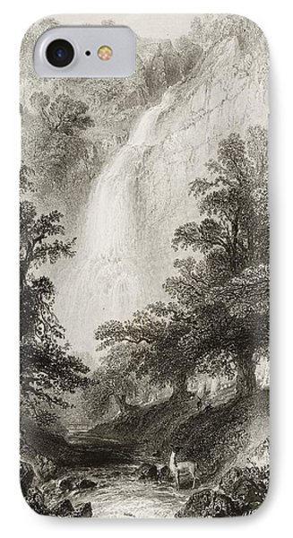 Powerscourt Fall, County Wicklow IPhone Case by Vintage Design Pics