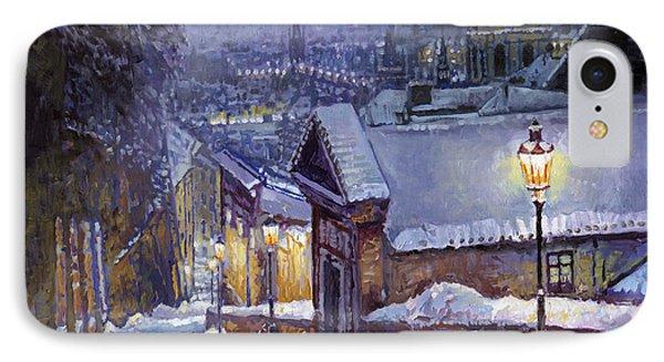 Prague Castle Steps Winter   Phone Case by Yuriy Shevchuk