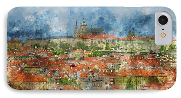 Prague Castle With Famous Charles Bridge In Czech Republic IPhone Case by Brandon Bourdages