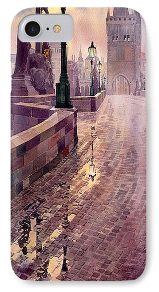 Prague Charles Bridge Night Light Phone Case by Yuriy  Shevchuk