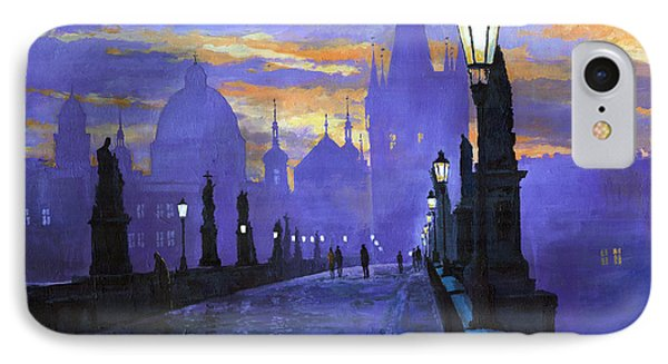 Prague Charles Bridge Sunrise IPhone Case by Yuriy  Shevchuk