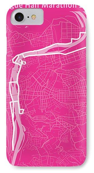 Prague Half Marathon Magenta IPhone Case by Big City Artwork