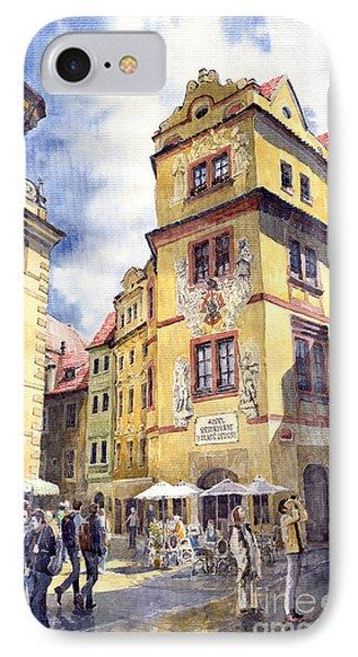 Prague Karlova Street Hotel U Zlate Studny IPhone Case by Yuriy  Shevchuk