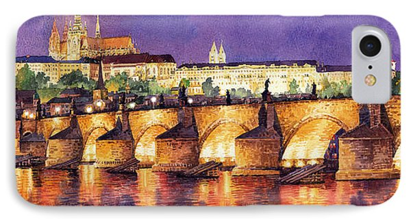 Prague Night Panorama Charles Bridge  IPhone Case