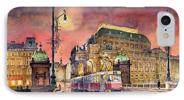 Prague  Night Tram National Theatre IPhone Case by Yuriy  Shevchuk