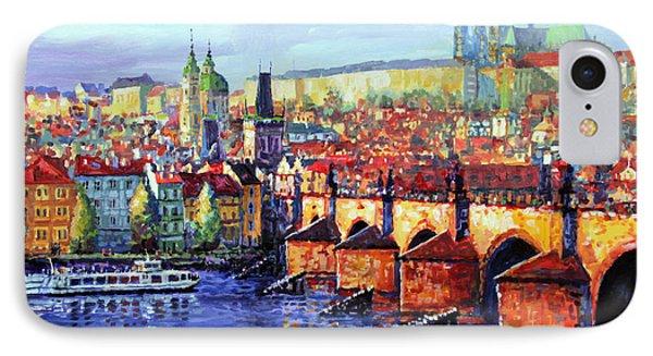 Prague Panorama Charles Bridge 07 IPhone Case by Yuriy Shevchuk