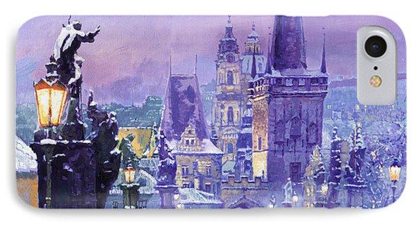 Prague Winter Charles Bridge IPhone Case by Yuriy Shevchuk